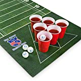 Natte pour Beer Game Evil Jared | Inclut 60 Gobelets Rouges + 6 Balles de Ping-Pong | Design Football Américain | Dimensions 180 x 60 cm
