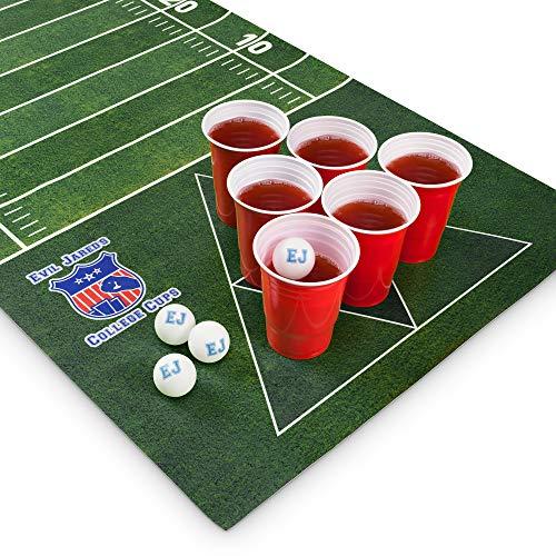 Natte pour Beer Game Evil Jared | Inclut 60 Gobelets Rouges + 6 Balles de Ping-Pong | Design Football Américain | Dimensions 180 x 60 cm