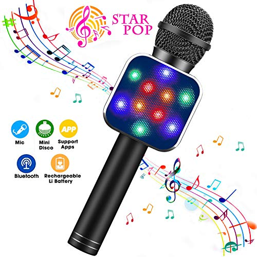 ShinePick Microfono Karaoke, 4 in 1 Bluetooth Wireless Microfono con LED Lampada Flash, Portatile Karaoke Player con Altoparlante per Android/iOS, PC e Smartphone(Nero)