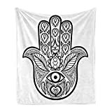 Ambesonne Mandala Soft Flannel Fleece Throw Blanket, Hamsa Hand Inner Eye Image Evil Eyes Bless You Oriental Eastern Art Print, Cozy Plush for Indoor and Outdoor Use, 50' x 70', Black and White