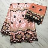 Entrega rapida en encaje de tul de encaje francés para coser la ropa del vestido Bazin africana Tela 5 yardas + 2 yardas de tela del cordón suizo de la gasa (PEACH)