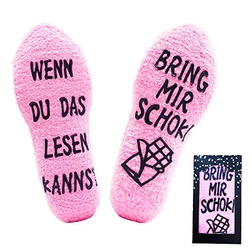 Jeasona Kuschelsocken Damen Flauschige Lustige Wenn Du Das Lesen Kannst Socken mit Motiv Schokoladen Geschenke für Frauen
