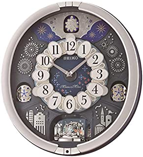 SEIKO Glittering Starry Night Melodies in Motion Wall Clock, Silver