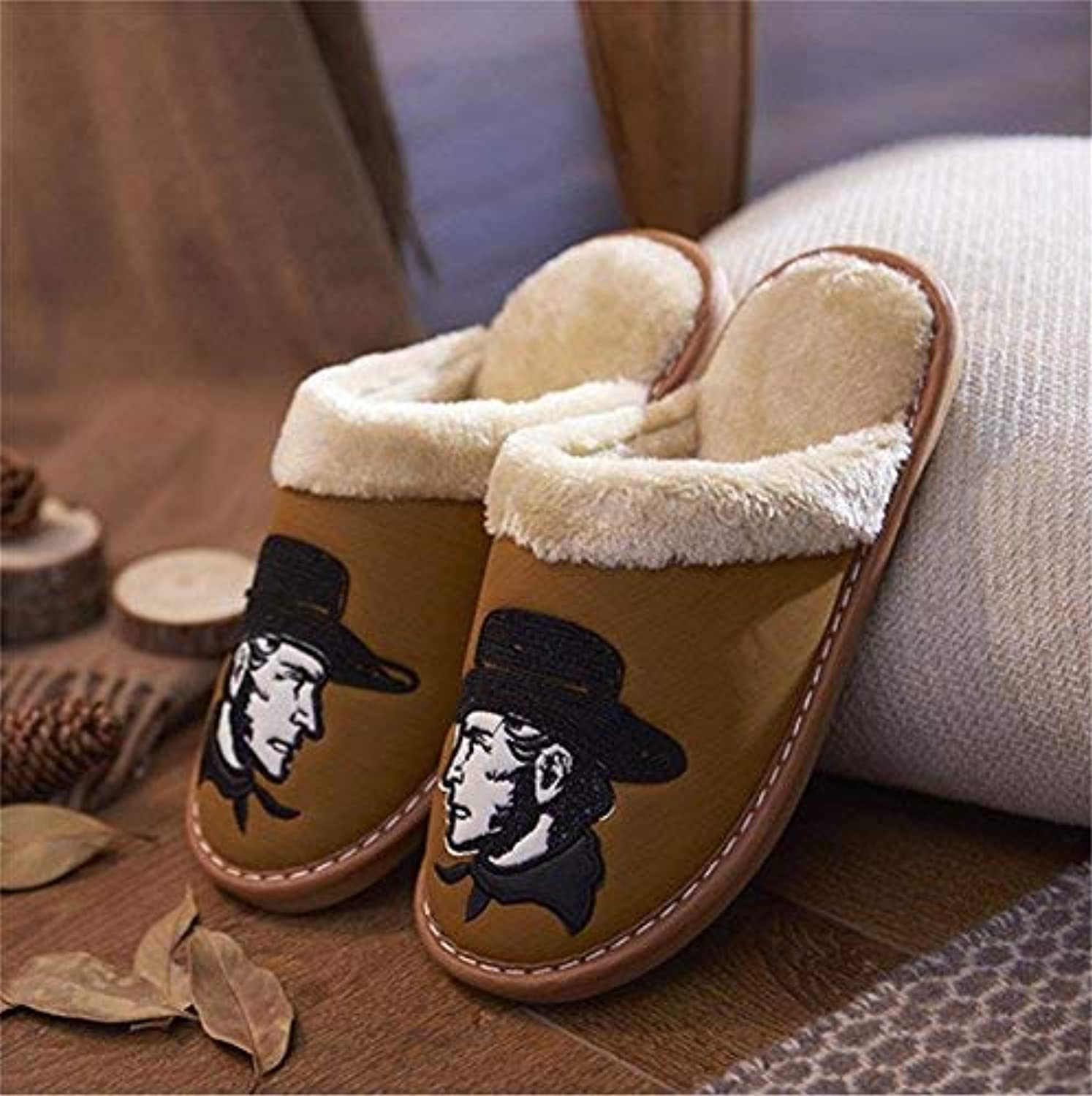 Lady Slippers Men's Warm Slippers Casual Faux-Leather Slippers Cow Boy Side Face Printed Pattern Warm in Autumn and Winter Wild Indoor Slippers