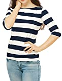 Allegra K Women's Elbow Sleeves T-Shirt Top Casual Basic Boat Neck Slim Fit Half Sleeve Stripes Tee Pullover M Blue
