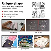 ラバースタンプ、コンパクトで軽量のリサイクル可能な透明スタンプ、日記デザインアルバム用