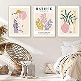 SHKJ Vintage Henri Matisse Geometry Posters e Impresiones Florero Abstracto Arte de la Pared Pintura en Lienzo Decoración para el hogar 3 Piezas 40x60 cm / 15.7'x 23.6' Sin Marco
