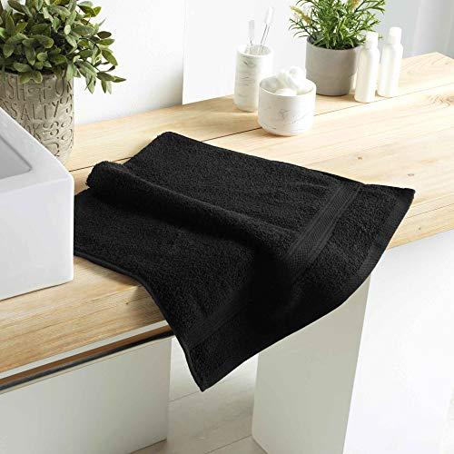 DOUCEUR D'INTERIEUR serviette de toilette 50 x 90 cm eponge unie colors noir