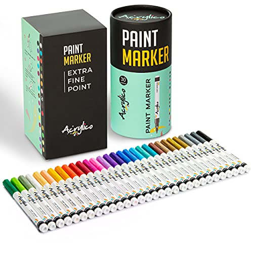 Paint Pens for Rock Painting, Stone, Ceramic, Glass, Wood,Canvas. Set of 30 Colors Extra Fine Tip Point Acrylic Paint Markers
