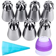 Russian Piping Tips Set, McoMce Russian Ball Tips with Reusable Pastry Bag, Cake Decorating Tip Sets, 7 Pcs Russian Ball Tips for Cake Decorating, Large Piping Tips Set for Cookie Cupcake Decorating