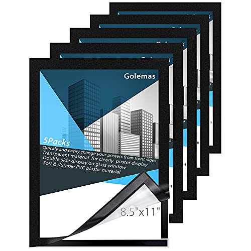 Golemas Magnetic Self-adhesive Frame,8.5' x 11' Sign Holder,Double-sided Window Poster Frame,Flexible PVC Sheet Document Display Frame ,Notice Frame for Office/Store/Factory(5 Packs)