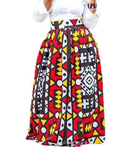 Dames Afrikaanse Bloemenprint Casual A-Lijn Maxirok Uitlopende Rok Popstijl Grote Swing-Achtige Rok