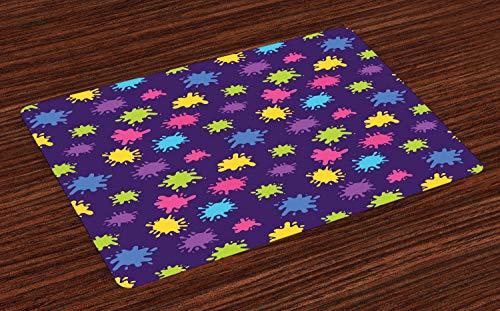 ABAKUHAUS Créatif Lot de Sets de Table en 4 pièces, Couleur Peinture Art Splashes, Tissu Lavable pour Salle à Manger et Cuisine, 30 cm x 45 cm, Violet et Multicolor