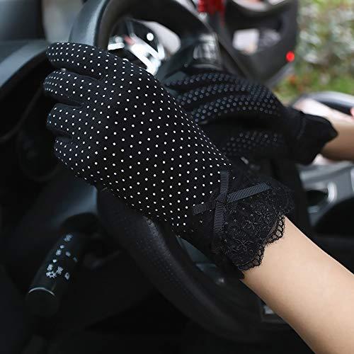 Swftc Frauen-Sommer-Fahrlichtschutzhandschuh Frau Anti-Rutsch-Thin Section Reiten Außen Fäustling Radfahren Touch Screen Spitzenhandschuhe Anti-UV-Breath Fahrer-Handschuhe (Color : Black)