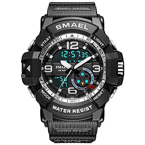 QZPM Relojes Deportivos Digital para Hombre, con Retroiluminación Alarma 50M Resistente Al Agua Multifuncional Grande De La Cara Militar Relojes Electrónicos,Negro