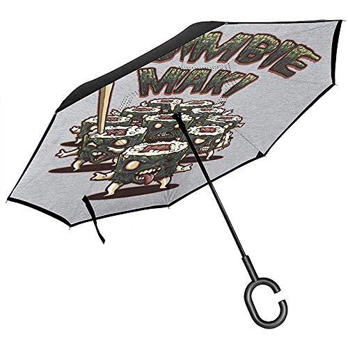 Zombie Maki met tekst omgekeerde paraplu voor auto omgekeerde vouwen ondersteboven C gevormde handen lichtgewicht winddicht ideaal geschenk