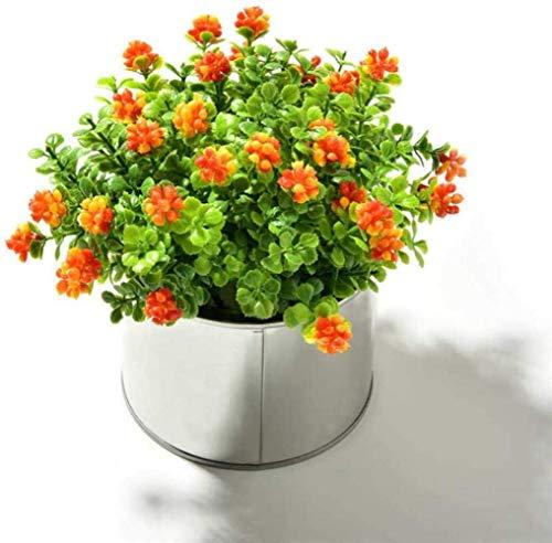 Vase Artificial Flower Artificial Mulberry Plants + Iron Simulation Fake Flowers Mini Bonsai Set for Wedding Home Garden Decoration,Colour:Red, lsxysp, Orange