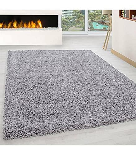 Carpettex Teppich Tapis Shaggy Pile Longue Couleur Unique Gris Claire - 300x400 cm