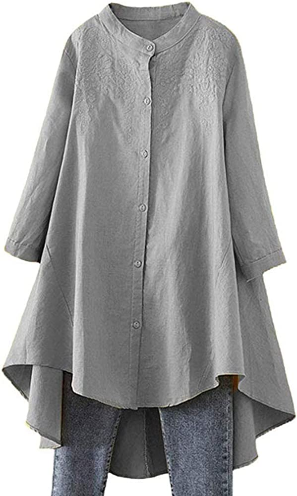 FTCayanz Women's Casual Tunic Tops Long Sleeve Blouses Linen Shirts with Pockets
