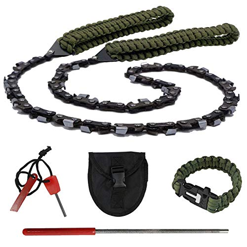 Toyeah 36' Pocket Chainsaw with Paracord Handle, 48 Bi-Directional Teeth, Chain Rope Portable Hand Saw for Wood Cutting, Camping and Survival Chain Saw