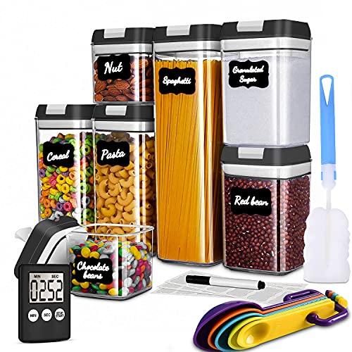 Benooa Botes Cocina Jarras de Almacenamiento de Plástico Sin BPA Botes de Cocina Herméticos Etiquetas Marcadory Medidores Harina Cereales Temporizador-Digital de Cocina-7