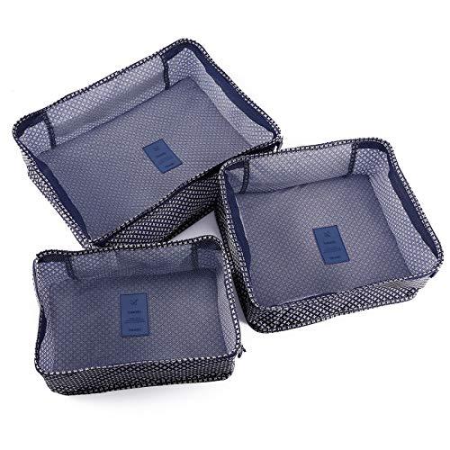 Surepromiseトラベルポーチ6個ネービー星柄大容量収納バッグアレンジケースパッキングバッグ衣類収納ポーチ旅行収納ポーチパッキングキューブ出張旅行衣類収納スーツケース整理…