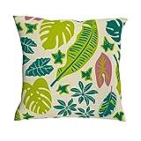 TengmiuXin Juego de fundas de cojín con diseño de hojas tropicales, con cremallera oculta, para sofá, cama, silla, estilo elegante y floral, lino, blanco, 45 x 45 cm