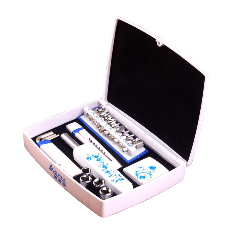 奥派克 APK-8803 (朱鹮)工具箱套装 家用五金工具维修电工组合 家庭多功能 十五件套家用工具组 白色