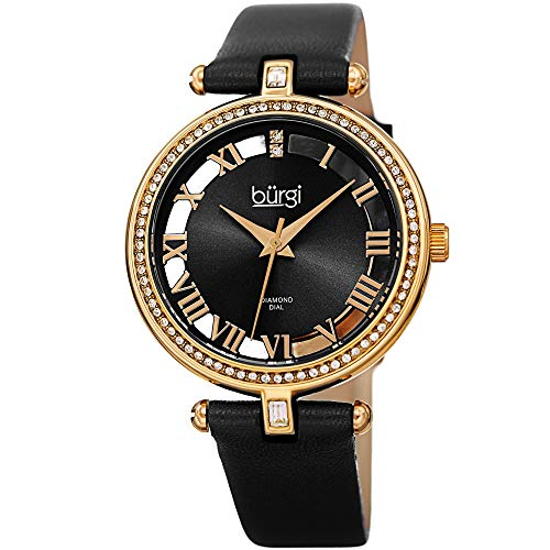 Burgi Genuine Leather Women's Watch – Swarovski Crystal Studded Bezel, 2 Diamond Markers, See Through and Sunray Dial, Black Strap - BUR228BK