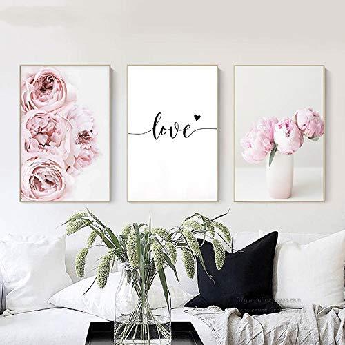 zsBig6 Cuadro en Lienzo Decoración nórdica Flor de peonía Rosa Cartel e impresión Amor Arte de la Pared Imagen Floral Decoración del Dormitorio Decoración del hogar 40x60cmx3 sin Marco