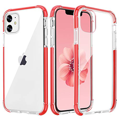 OHNICE iPhone 11 Case Clear Ultra Premium Hybrid Anti-Yellow Hard PC Back Cover with Soft Crystal Corners Rubber Bumper Shockproof Protective Case for Apple 2019 New iPhone 11-6.1 inch (Red)