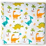 """Ella Bonna Organic Cotton Baby Blanket Dinosaur Printed All in One Nursing and Stroller Cover, Pram Sunshade, Burp Cloth, Towel, Breathable, Muslin 47"""" x 47"""" for Baby Boys Girls Toddlers"""