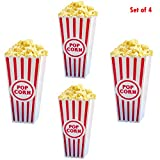 Adorox (Set of 4) Movie Theater Style Popcorn Containers Set (Reusable plastic)