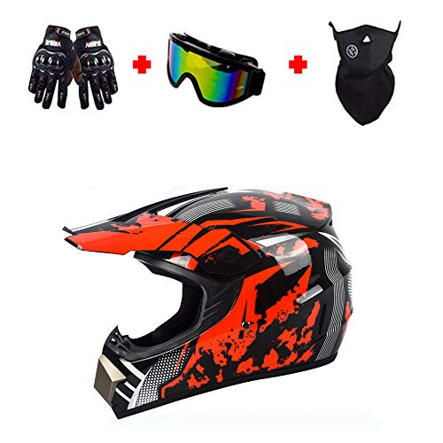 QIQI Casco de Motocross para niños y jóvenes, Casco de Cuatro Ruedas para niños de la Calle, niñas, Casco de Motocicleta, Guantes, Gafas, máscara Facial,Fhg,L