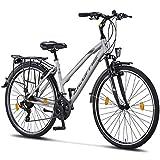 Licorne Bike Premium TrekkingBike in 28 Zoll - Fahrrad für Herren, Jungen, Mädchen und Damen - Shimano 21 Gang-Schaltung - Citybike - Männerfahrrad - L-V-ATB - Grau/Schwarz
