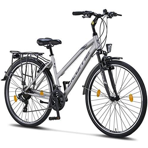 Licorne Bike Life L-V-ATB (Grau/Schwarz) 28 Zoll Damenfahrrad,Trekking, ATB, CTB ab 160 cm, Fahrrad-Licht, Shimano 21 Gang-Schaltung, Damen-Citybike, Retro, Holland, Amsterdam