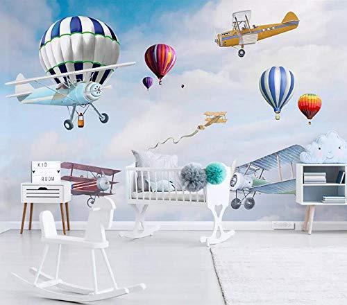 WGBHQ 3D muurschildering verwijderbare zelfklevende behang-muur decoratie - eenvoudige hand getekend cartoon vliegtuig ballon familie woonkamer slaapkamer kantoor kinderen kamer decoratie behang B(W)200x(H)150cm