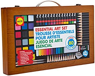 Alex Artist Stduio Portable Essential Art Supplies with Wood Carrying Case Kids Art and Craft Activity