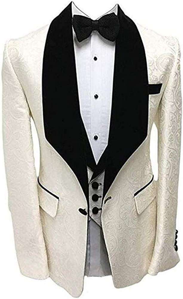 Mens Wedding Ivory 3 PC Suit Slim Fit Shawl Lapel Formal Tux Business