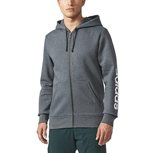 adidas Herren Athletics Essential Linear Logo Full Zip Hoodie, Herren, Dunkelgrau - Dark Grey Heather, Medium