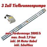 Agora-Tec® AT- 3' Brunnenpumpe 550W mit 30 m Kabel Edelstahl-Tiefbrunnenpumpe mit max: 7,9 bar,...