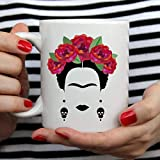 Ahaltao Frida Kahlo y Flor Taza de Arte Mexicano Blanco Cerámica 11oz Té Taza de Café Regalo