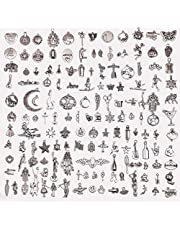 150-pack Bulk Lots Charms for Jewelry Making Supplies DIY Craft Material Accessories Bracelet Necklace Pendant Earring Tibetan Silver Wholesale