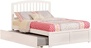 Atlantic Furniture Richmond Platform Bed with Flat Panel Footboard and Twin Size Urban Trundle, Full, White
