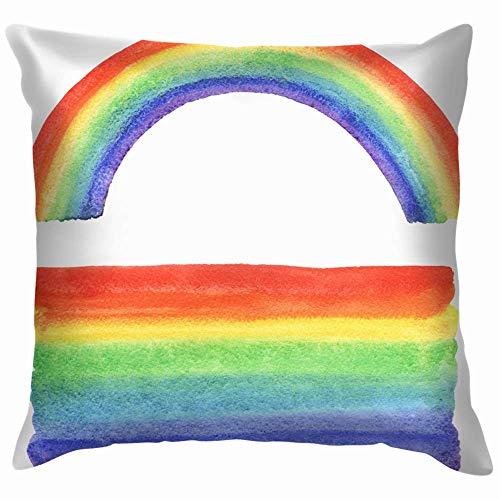 Wu Acuarela Rainbow Gradiente Rellenar Bordes desiguales Naturaleza Manta Funda de Almohada Funda de Cojín Funda de Almohada Acuarela para Sofá 20X51 cm