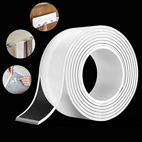 UCRAVO Nano Double Sided Tape Heavy Duty - Multipurpose Removable Traceless Mounting Adhesive Tape for Walls,Washable Reusable Strong Sticky Strips Gel Grip Tape