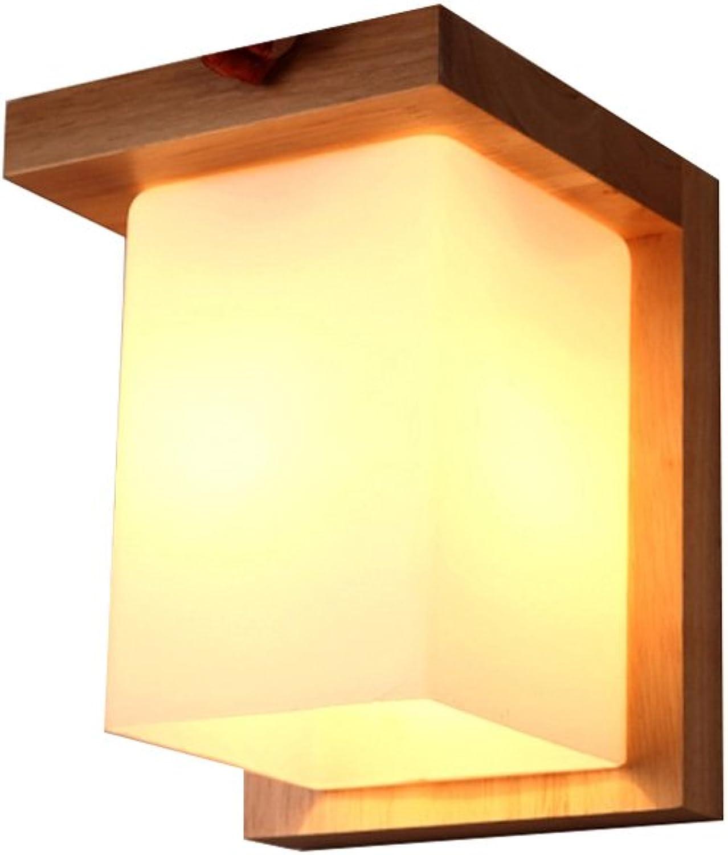 YH Hlzerne Wandlampe lndlichen Stil für Schlafzimmer Nachtwandlampe Korridor Korridor Balkon Treppe Gre  14X18 cm A++