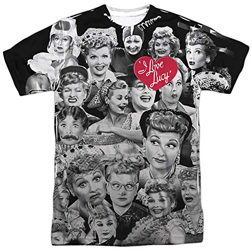 I Love Lucy Faces (Front Back Print) Mens Sublimation Shirt White LG