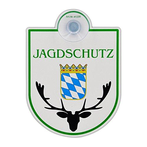 """Saugnapfschild Schild """"Jagdschutz - Bayern"""" Acrylschild 3mm mit Saugnapf 30mm, ca. 90x125 mm für Scheibeninnenbefestigung"""