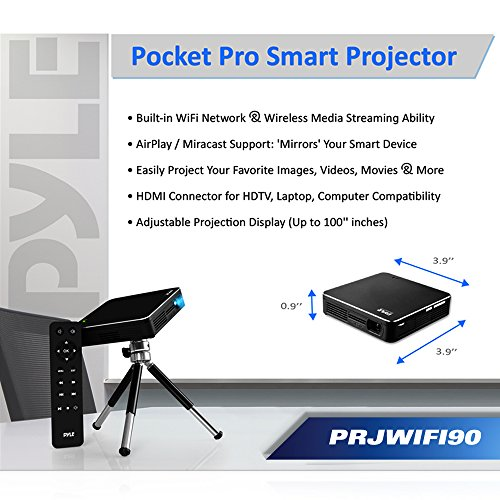 Full HD 1080p Portable Pocket Video Cinema Home Theater Pico Projector - WiFi Network Wireless Multimedia Streaming, HDMI Cable, Tripod, Manual Focus Lens and USB Reader for PC, Computer, Laptop & TV